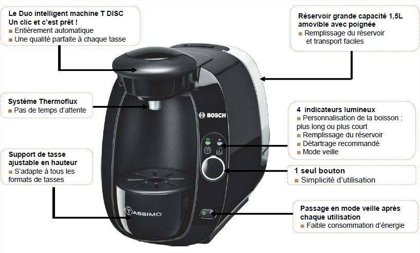 cafetiere dosette tas2002 tassimo noir bosch pas cher. Black Bedroom Furniture Sets. Home Design Ideas