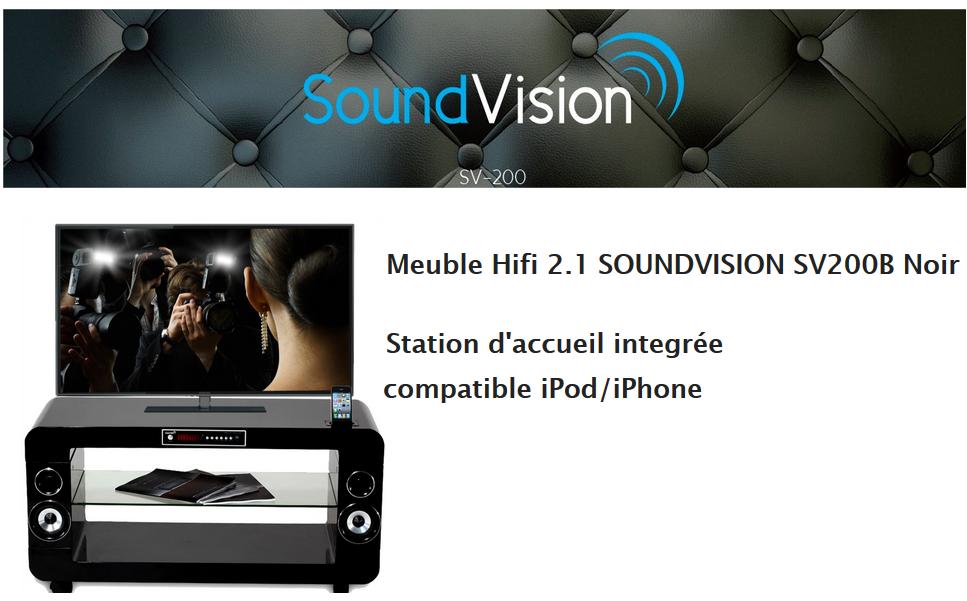 SV200B  Noir  Meuble TV amplifié SOUNDVISION pas cher à prix Auchan -> Meuble Tv Auchan