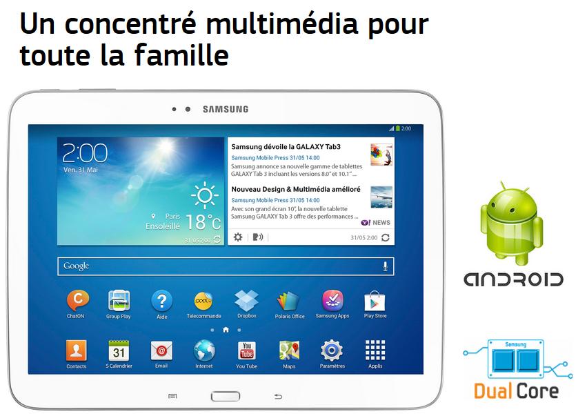 b539d5d22f1 Tablette tactile Galaxy Tab 3 (T3100) Blanc SAMSUNG pas cher à prix ...