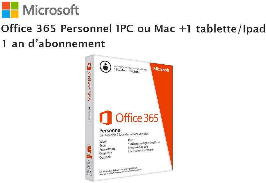logiciel office 365 personnel microsoft pas cher prix auchan. Black Bedroom Furniture Sets. Home Design Ideas