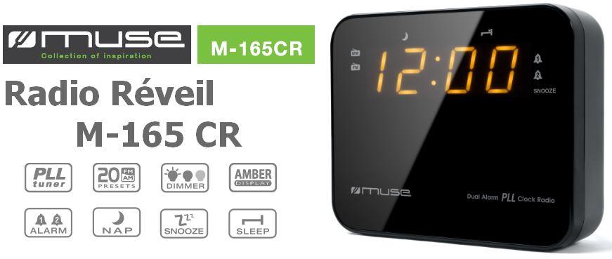 M165CR Radio réveil MUSE pas cher à prix Auchan